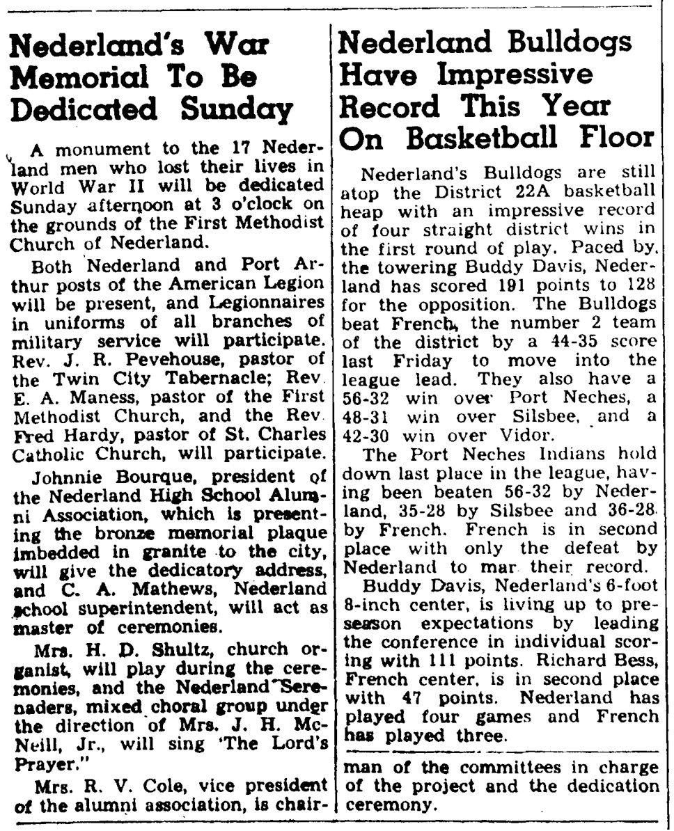 Veterans Memorial 1948 article