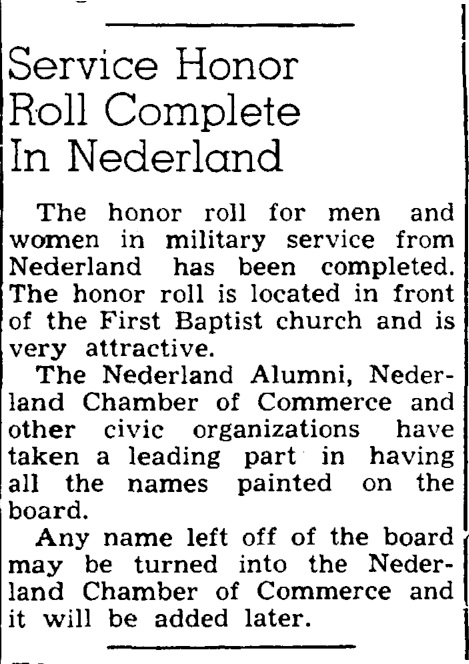 Nederland Honor Roll article 6