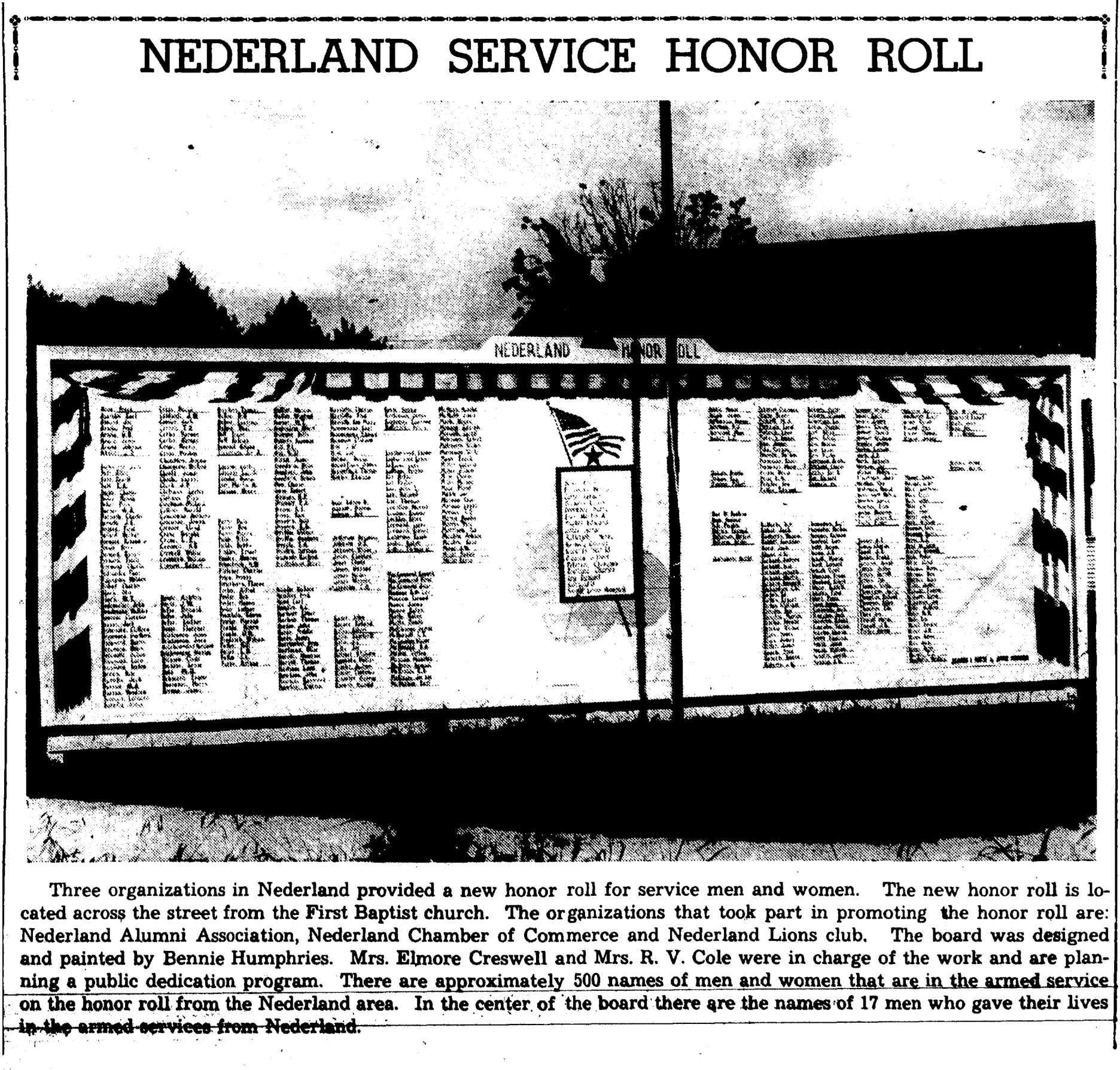 Nederland Honor Roll article 7