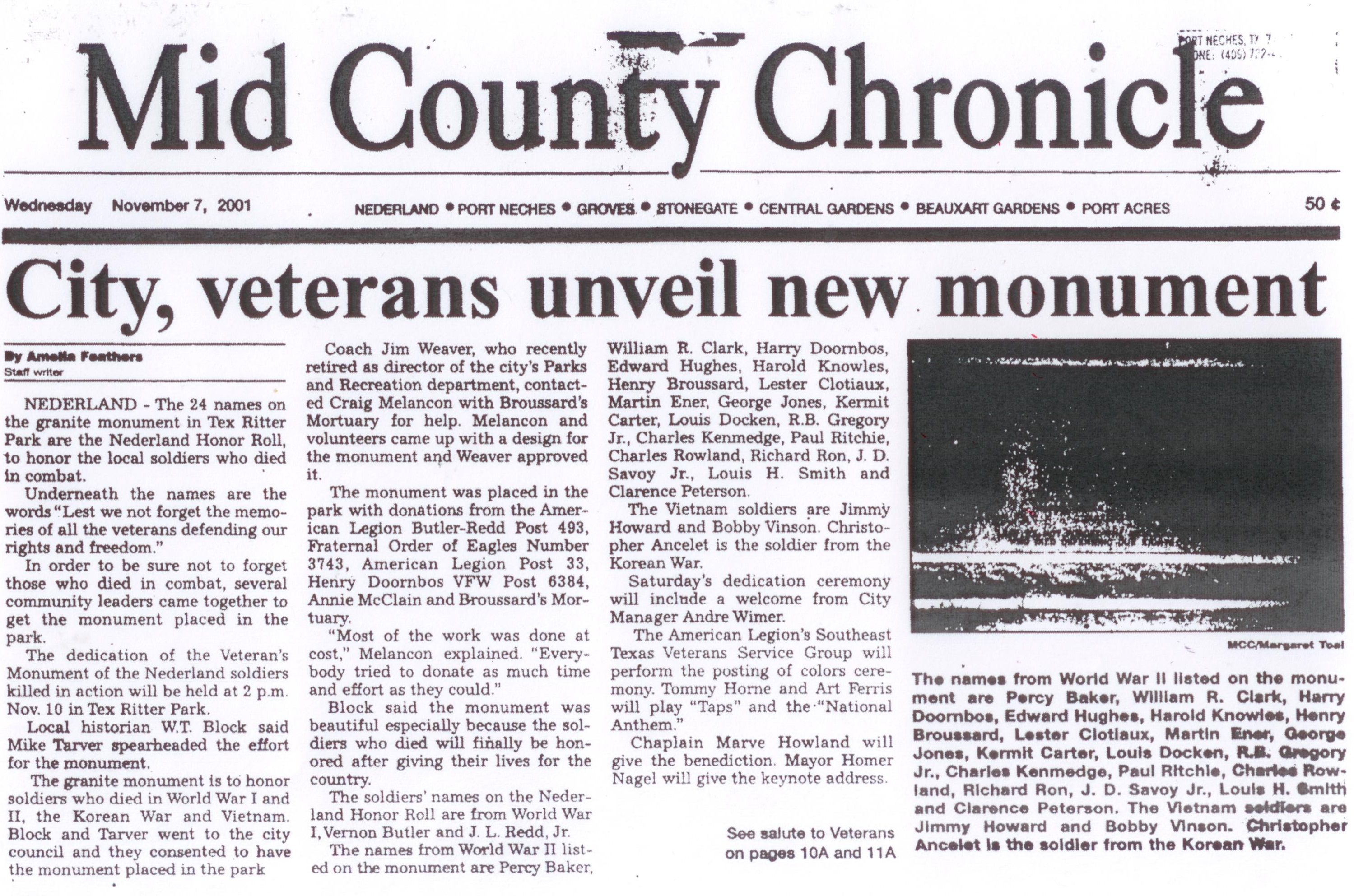Veterans Memorial 2001 article