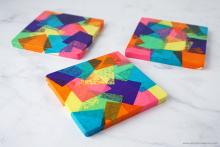 Print on Coasters using Tissue Paper